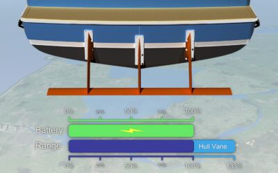 Sailing on battery power? Go farther with semi-custom Hull Vane®!